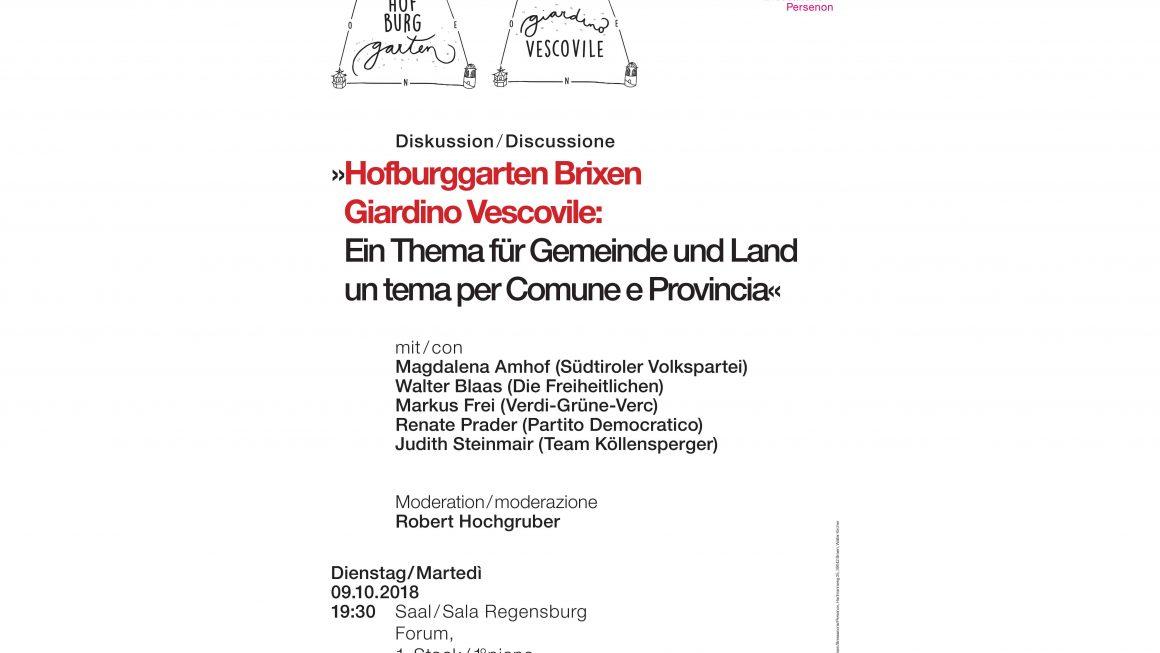 """Diskussion. """"Hofburggarten Brixen: Ein Thema für Gemeinde und Land"""""""