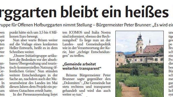 Transparenz in Sachen Hofburggarten? Höchste Zeit!